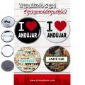Presumede…Andújar. Pack 4 chapas/4 abridores con imán/4 espejos ó 4 imanes.
