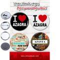 Presumede…Azagra. Pack 4 chapas/4 abridores con imán/4 espejos ó 4 imanes.