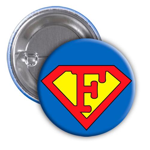 Chapa superhéroe. Súper...F