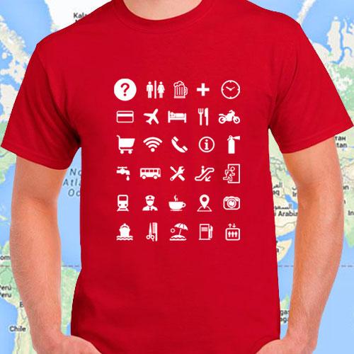 Camisetas para viajeros con iconos universales