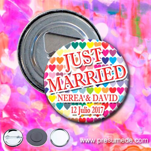 Abridores para boda corazones de colores