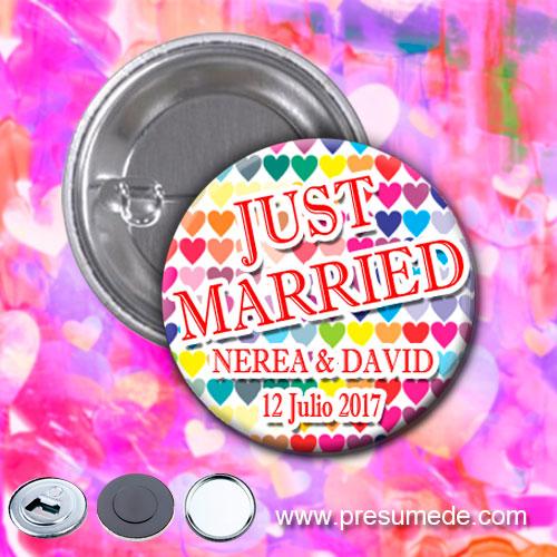 Chapas para boda corazones de colores