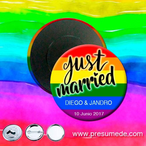 Imanes para boda arcoíris