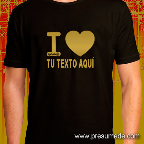 camiseta personalizada I love dorada