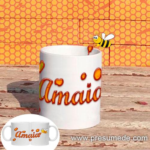 Taza personalizada con letras de miel
