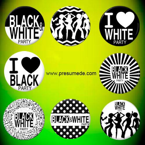 chapas fiesta blanco y negro