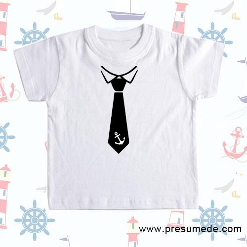 Camiseta infantil con corbata con ancla
