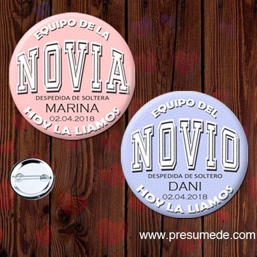Chapas despedida soltero EQUIPO DEL NOVIO/NOVIA