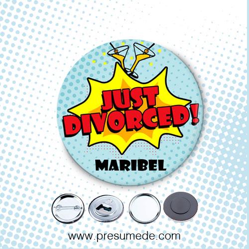 Chapas para fiesta de divorcio just divorced cómic
