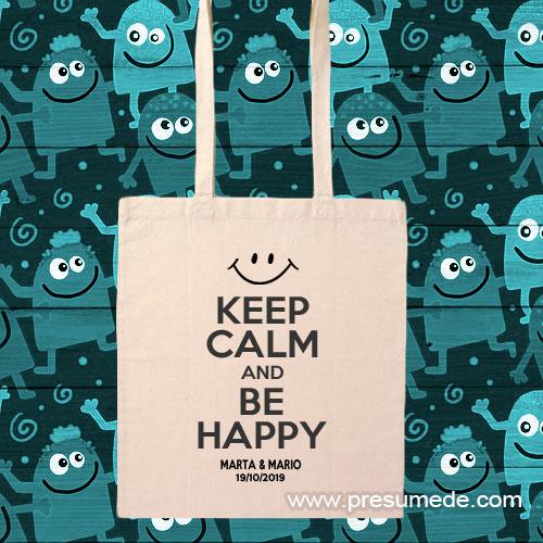 Bolsa de algodón para boda keep calm and be happy