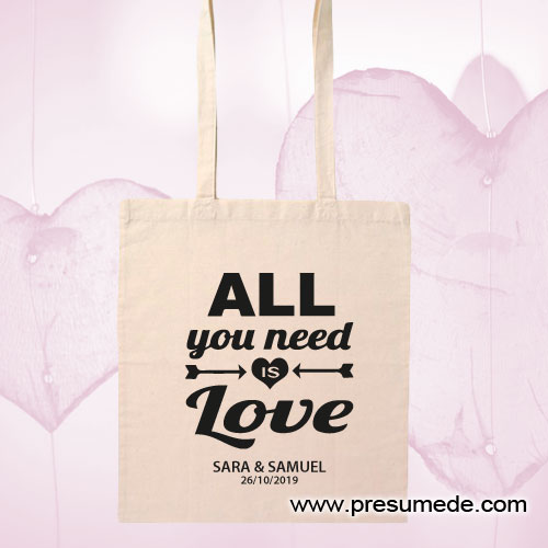 Bolsa de algodón para boda ALL YOU NEED