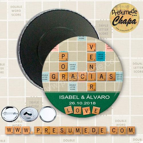 Imanes para boda Scrabble