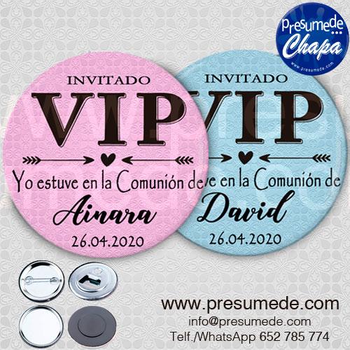 Chapas para comunión invitado VIP