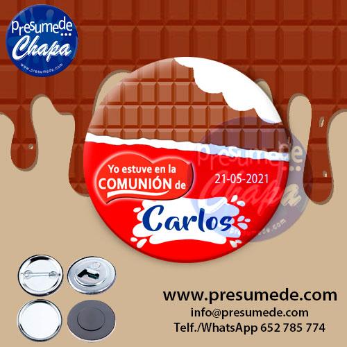 Chapas para comunión chocolatina