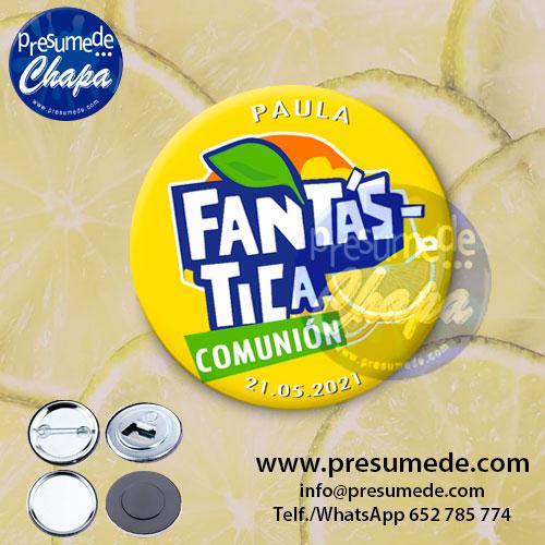 Chapas para comunión Fanta limón
