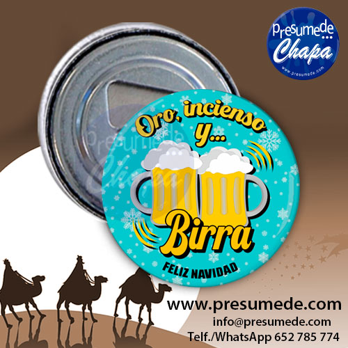Abridores con imán para navidad oro incienso y birra