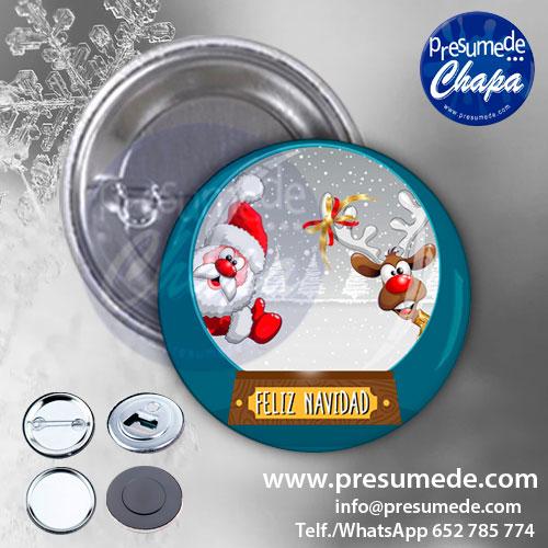 Chapas para Navidad bola Papá Noel y Rudolf