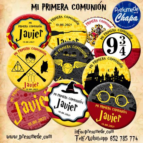 Chapas pack para comunión Harry Potter