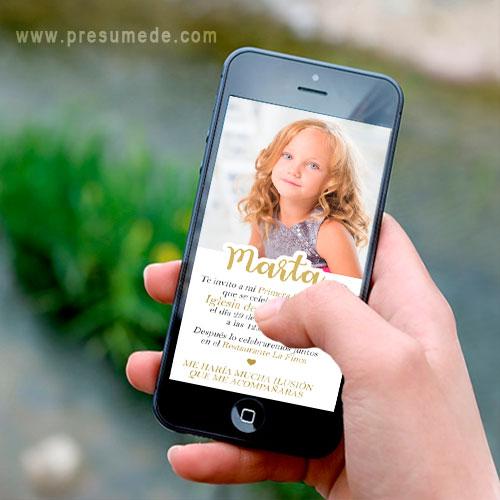 Invitación digital para comunión con foto y texto