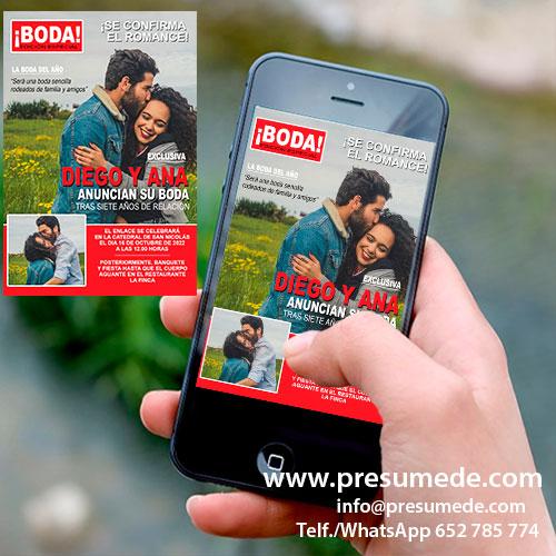 Invitación digital boda revista