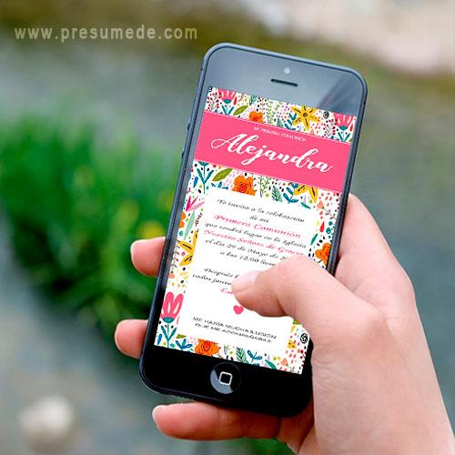 Invitación digital para comunión flores primavera