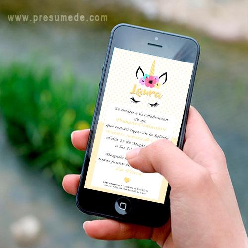 Invitación digital para comunión unicornio