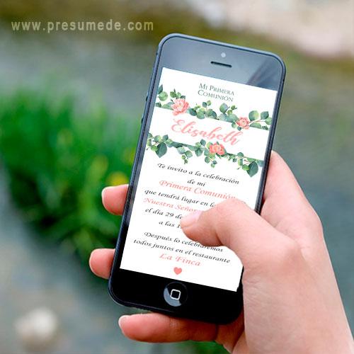 Invitación digital para comunión peonías flores