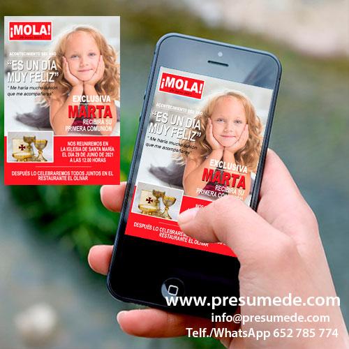 Invitación digital para comunión revista